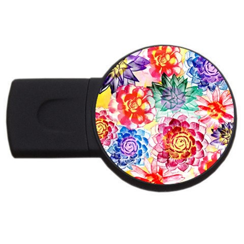 Colorful Succulents USB Flash Drive Round (1 GB)