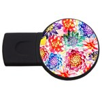 Colorful Succulents USB Flash Drive Round (1 GB)  Front