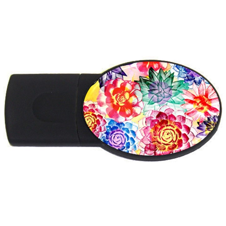 Colorful Succulents USB Flash Drive Oval (1 GB)