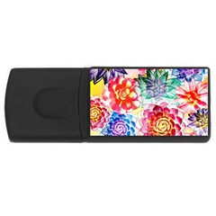 Colorful Succulents USB Flash Drive Rectangular (2 GB)