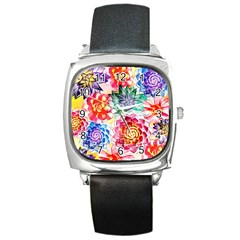 Colorful Succulents Square Metal Watch