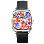 Colorful Succulents Square Metal Watch Front