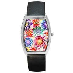 Colorful Succulents Barrel Style Metal Watch