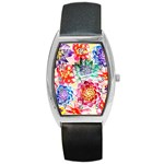 Colorful Succulents Barrel Style Metal Watch Front