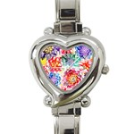 Colorful Succulents Heart Italian Charm Watch Front