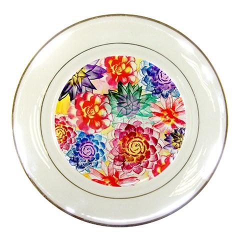 Colorful Succulents Porcelain Plates