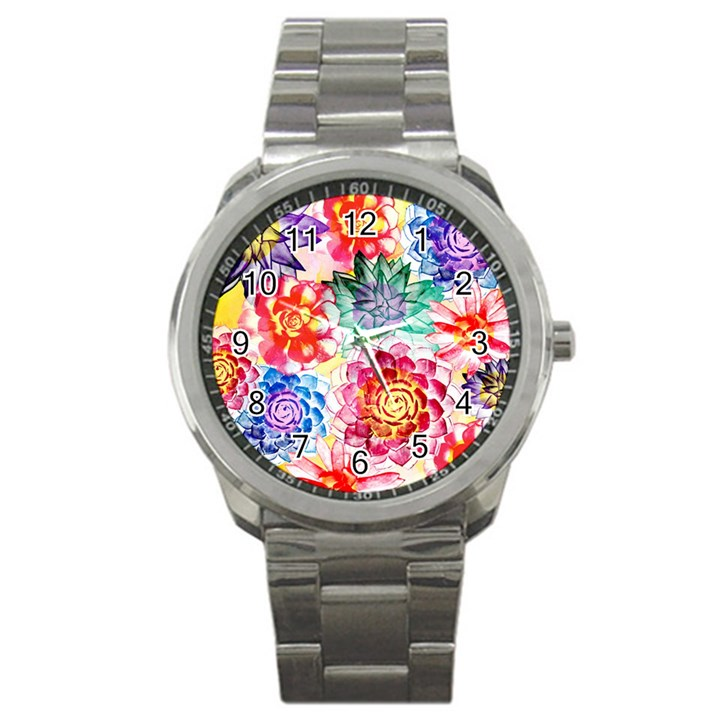 Colorful Succulents Sport Metal Watch