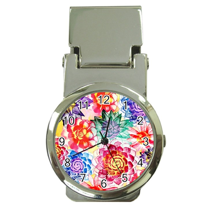 Colorful Succulents Money Clip Watches