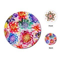 Colorful Succulents Playing Cards (round)