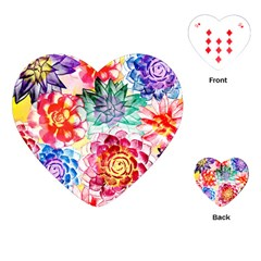 Colorful Succulents Playing Cards (heart)