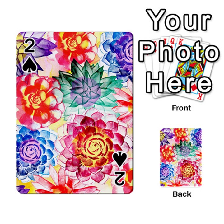 Colorful Succulents Playing Cards 54 Designs