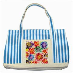 Colorful Succulents Striped Blue Tote Bag