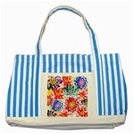 Colorful Succulents Striped Blue Tote Bag Front