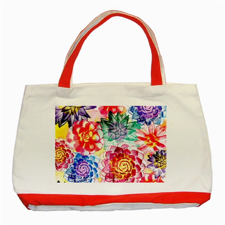Colorful Succulents Classic Tote Bag (Red)