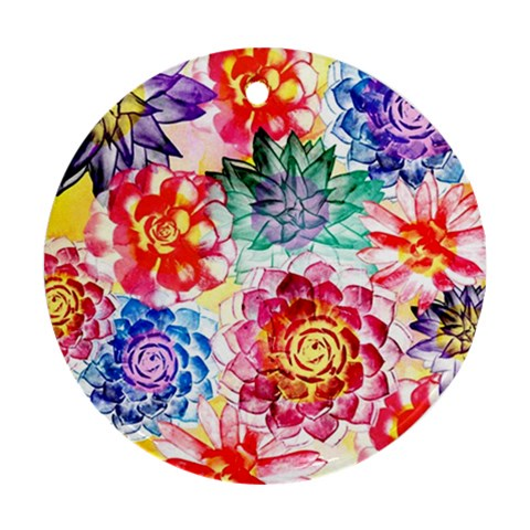 Colorful Succulents Round Ornament (Two Sides)
