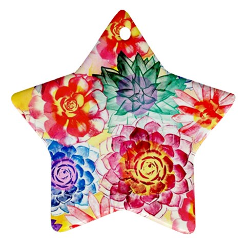 Colorful Succulents Star Ornament (Two Sides)