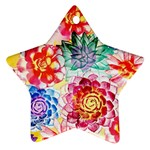 Colorful Succulents Star Ornament (Two Sides)  Back