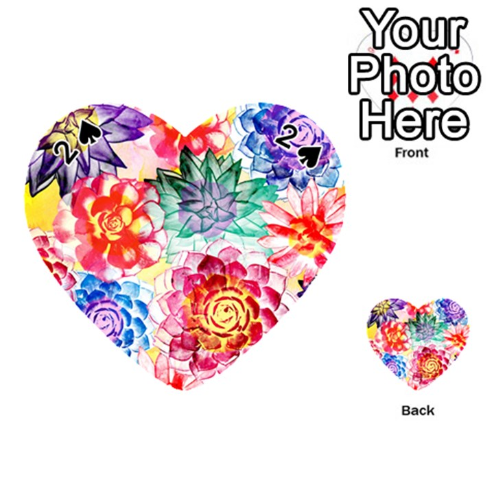 Colorful Succulents Playing Cards 54 (Heart)