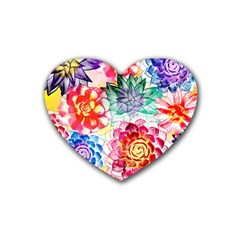 Colorful Succulents Rubber Coaster (heart)
