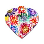 Colorful Succulents Dog Tag Heart (One Side) Front