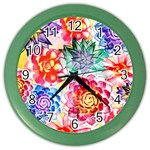 Colorful Succulents Color Wall Clocks Front