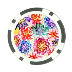 Colorful Succulents Poker Chip Card Guards