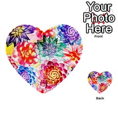 Colorful Succulents Multi Purpose Cards (heart)