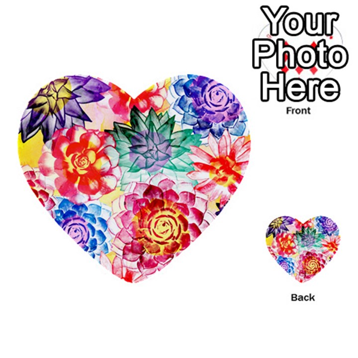 Colorful Succulents Multi-purpose Cards (Heart)