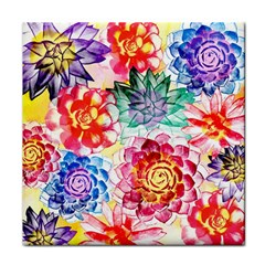 Colorful Succulents Face Towel