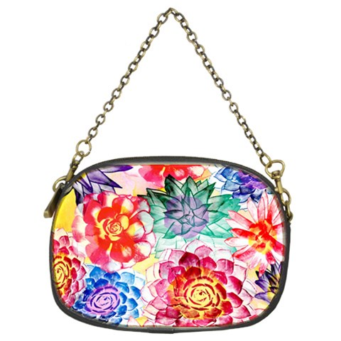 Colorful Succulents Chain Purses (Two Sides)