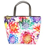 Colorful Succulents Bucket Bags Front