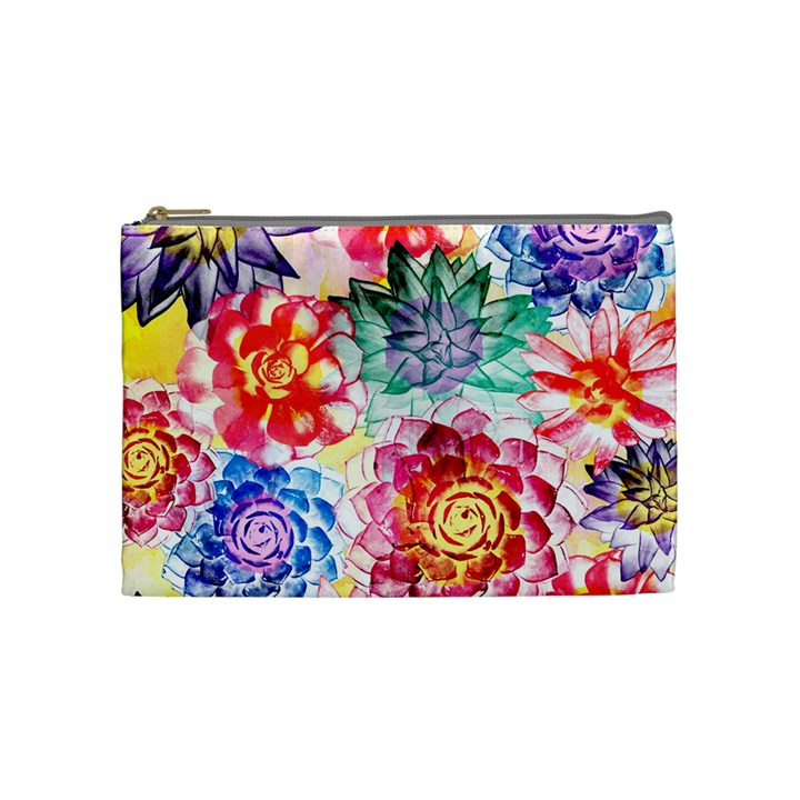 Colorful Succulents Cosmetic Bag (Medium)