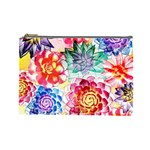 Colorful Succulents Cosmetic Bag (Large)  Front