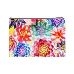 Colorful Succulents Cosmetic Bag (Large)  Back