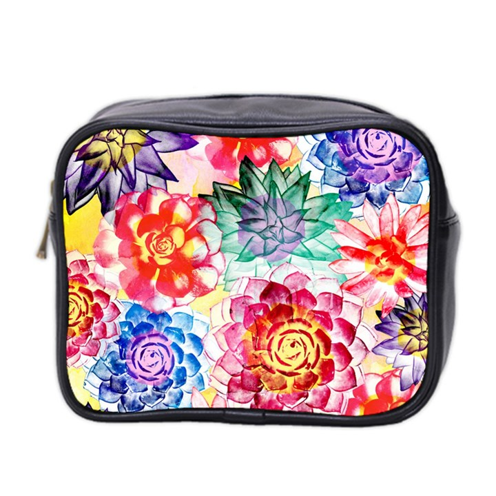 Colorful Succulents Mini Toiletries Bag 2-Side