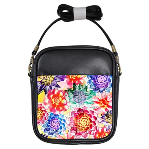 Colorful Succulents Girls Sling Bags