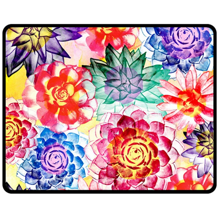 Colorful Succulents Fleece Blanket (Medium)