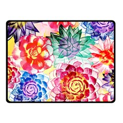 Colorful Succulents Fleece Blanket (small)
