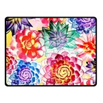 Colorful Succulents Fleece Blanket (Small) 50 x40 Blanket Front