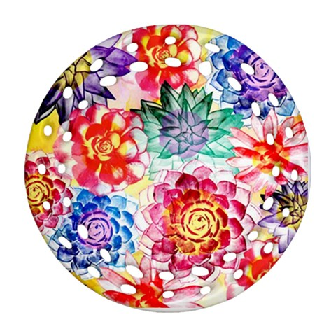 Colorful Succulents Ornament (Round Filigree)