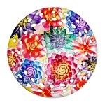Colorful Succulents Round Filigree Ornament (2Side) Front