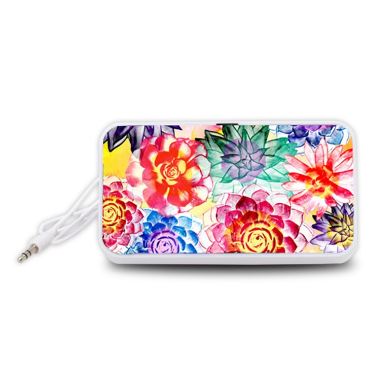 Colorful Succulents Portable Speaker (White)