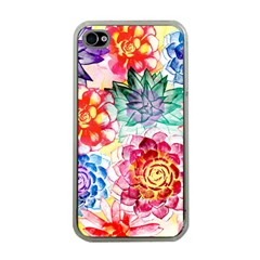 Colorful Succulents Apple Iphone 4 Case (clear)