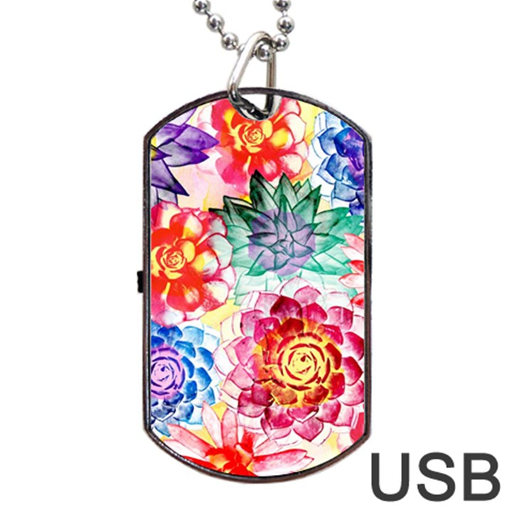 Colorful Succulents Dog Tag USB Flash (One Side)
