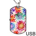 Colorful Succulents Dog Tag USB Flash (Two Sides)  Back