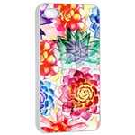 Colorful Succulents Apple iPhone 4/4s Seamless Case (White) Front