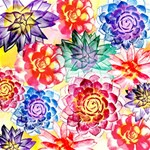 Colorful Succulents BEST SIS 3D Greeting Card (8x4) Inside