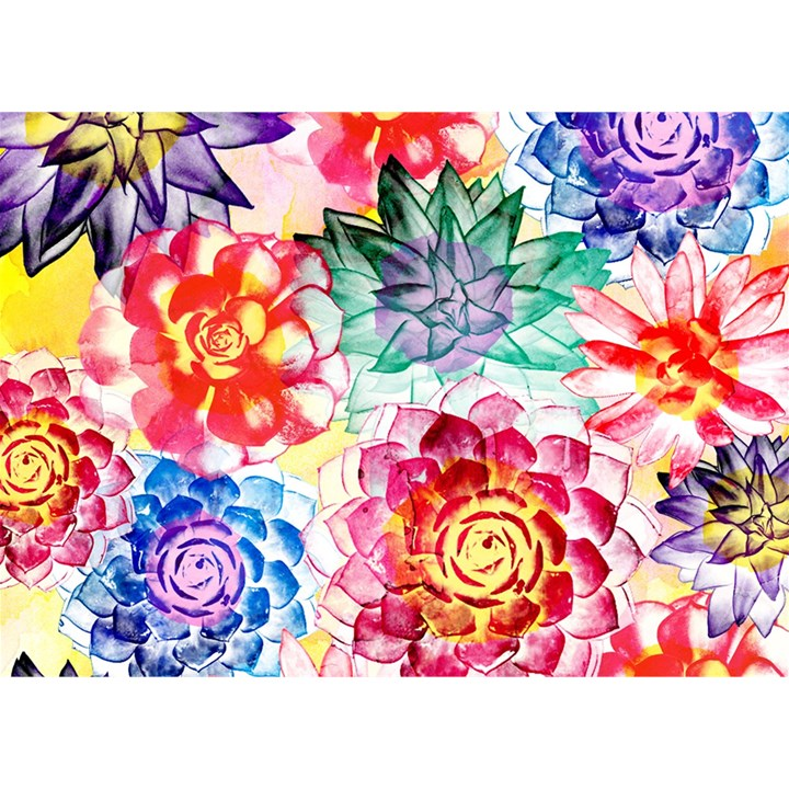 Colorful Succulents Birthday Cake 3D Greeting Card (7x5)
