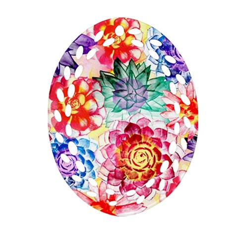Colorful Succulents Oval Filigree Ornament (2-Side)