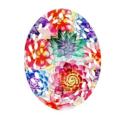 Colorful Succulents Oval Filigree Ornament (2 Side)